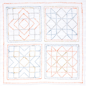 Sampler Square - Sashiko World America Stamped Embroidery Kit