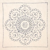 Rose Medallion - Sashiko World Hungary Stamped Embroidery Kit