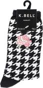 Black/White - Embroidered Rose Crew Socks