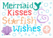 "9""X6.5"" 14 Count - Mermaid Kisses Counted Cross Stitch Kit"
