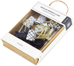 Assorted Prints, 12/Pkg - Medium Binder Clips Black & White With Gold Prongs