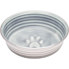 Parisian Gray - Le Bol X-Small Le Bols are gorgeous, extremely durable, stainless steel bowls with a ceramic-like interior. Interiors are brightly colored with a look of ceramic overstain, which highlights the ribbed walls and embossed paw in the bottom. Dishwasher safe. This package contains one 4.5x4.5x1.25 inch bowl with a rubber base. Comes in a variety of colors. Each sold separately. Imported.