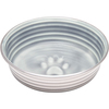 Parisian Gray - Le Bol Small Le Bols are gorgeous, extremely durable, stainless steel bowls with a ceramic-like interior. Interiors are brightly colored with a look of ceramic overstain, which highlights the ribbed walls and embossed paw in the bottom. Dishwasher safe. This package contains one 5.25x5.25x1.75 inch bowl with a rubber base. Comes in a variety of colors. Each sold separately. Imported.