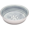 Parisian Gray - Le Bol Large Le Bols are gorgeous, extremely durable, stainless steel bowls with a ceramic-like interior. Interiors are brightly colored with a look of ceramic overstain, which highlights the ribbed walls and embossed paw in the bottom. Dishwasher safe. This package contains one 8x8x2 inch bowl with a rubber base. Comes in a variety of colors. Each sold separately. Imported.