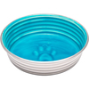 Seine Blue - Le Bol X-Small Le Bols are gorgeous, extremely durable, stainless steel bowls with a ceramic-like interior. Interiors are brightly colored with a look of ceramic overstain, which highlights the ribbed walls and embossed paw in the bottom. Dishwasher safe. This package contains one 4.5x4.5x1.25 inch bowl with a rubber base. Comes in a variety of colors. Each sold separately. Imported.