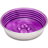 Lilac - Le Bol X-Small Le Bols are gorgeous, extremely durable, stainless steel bowls with a ceramic-like interior. Interiors are brightly colored with a look of ceramic overstain, which highlights the ribbed walls and embossed paw in the bottom. Dishwasher safe. This package contains one 4.5x4.5x1.25 inch bowl with a rubber base. Comes in a variety of colors. Each sold separately. Imported.