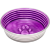 Lilac - Le Bol Small Le Bols are gorgeous, extremely durable, stainless steel bowls with a ceramic-like interior. Interiors are brightly colored with a look of ceramic overstain, which highlights the ribbed walls and embossed paw in the bottom. Dishwasher safe. This package contains one 5.25x5.25x1.75 inch bowl with a rubber base. Comes in a variety of colors. Each sold separately. Imported.