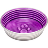 Lilac - Le Bol Large Le Bols are gorgeous, extremely durable, stainless steel bowls with a ceramic-like interior. Interiors are brightly colored with a look of ceramic overstain, which highlights the ribbed walls and embossed paw in the bottom. Dishwasher safe. This package contains one 8x8x2 inch bowl with a rubber base. Comes in a variety of colors. Each sold separately. Imported.