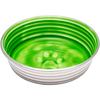 Chartreuse - Le Bol Small Le Bols are gorgeous, extremely durable, stainless steel bowls with a ceramic-like interior. Interiors are brightly colored with a look of ceramic overstain, which highlights the ribbed walls and embossed paw in the bottom. Dishwasher safe. This package contains one 5.25x5.25x1.75 inch bowl with a rubber base. Comes in a variety of colors. Each sold separately. Imported.