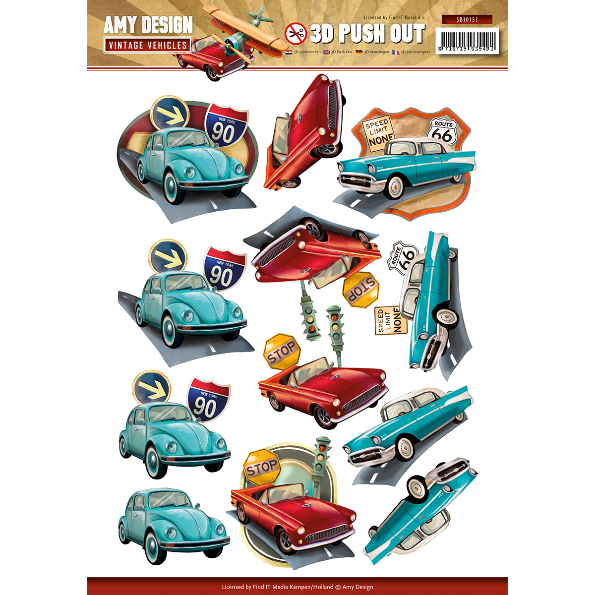 Automobiles - Find It Amy Design Vintage Vehicles Punchout Sheet