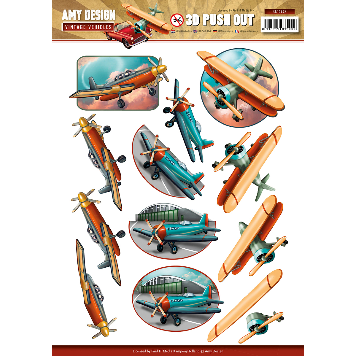 Planes - Find It Amy Design Vintage Vehicles Punchout Sheet