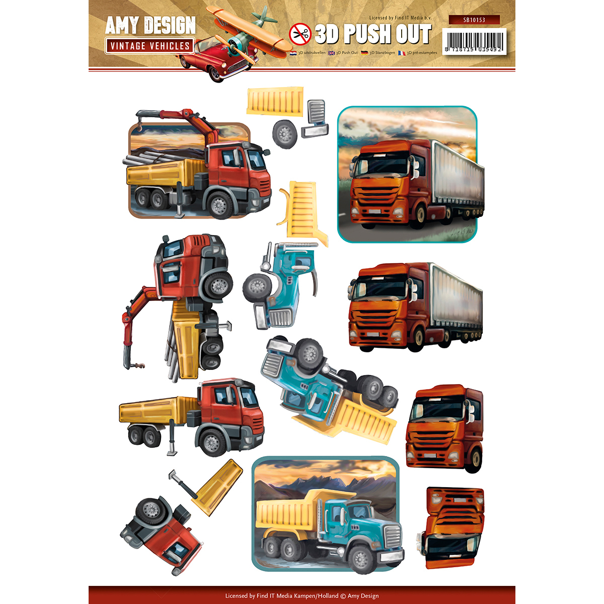 Heavy Equipment - Find It Amy Design Vintage Vehicles Punchout Sheet