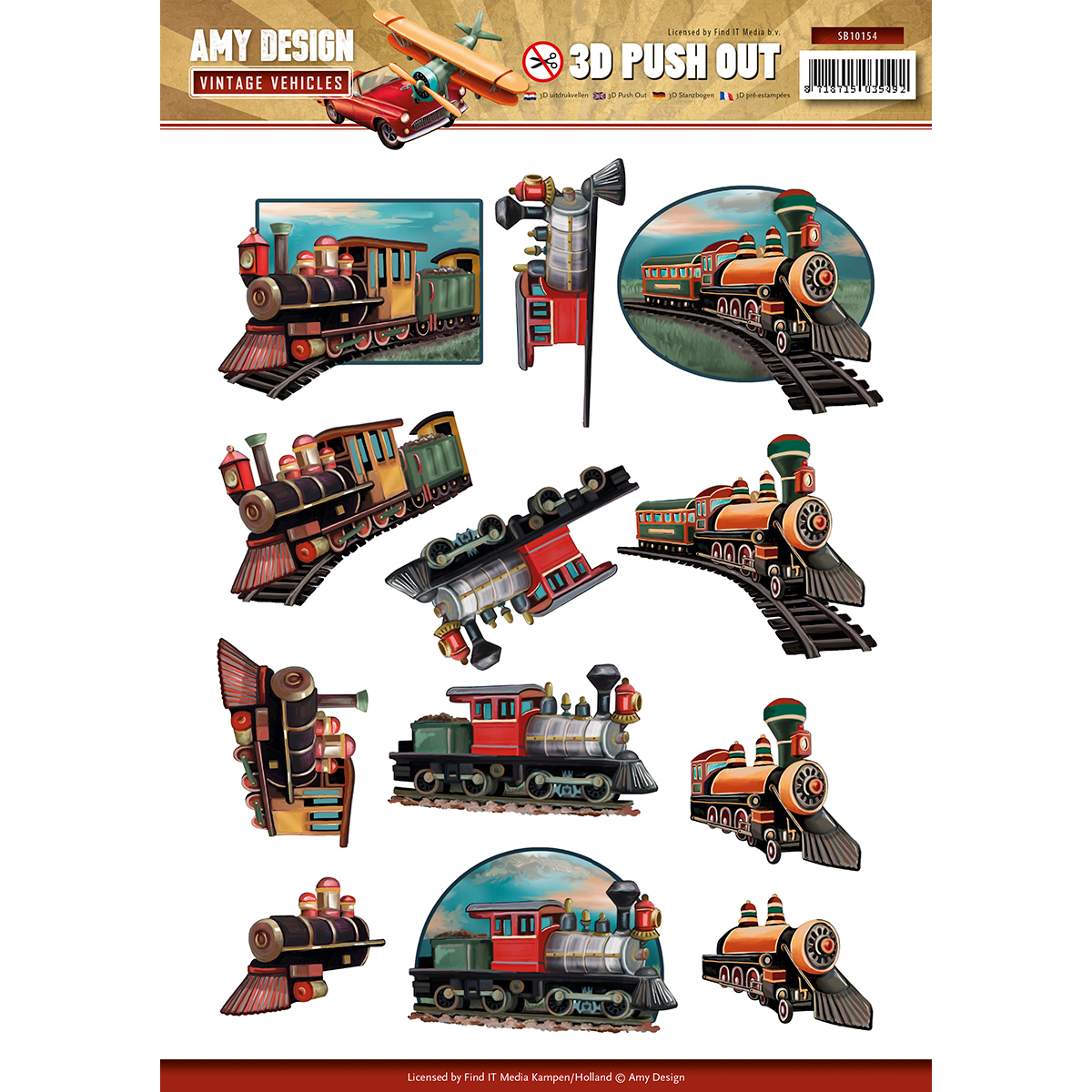 Trains - Find It Amy Design Vintage Vehicles Punchout Sheet