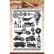 """Vintage Vehicles - Find It Trading Amy Design Clear Stamps 6""""X8.25"""""""