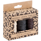 Natural, Brown, Black; 20yds Each - Waxed Linen 5 Ply Thread 3/Pkg