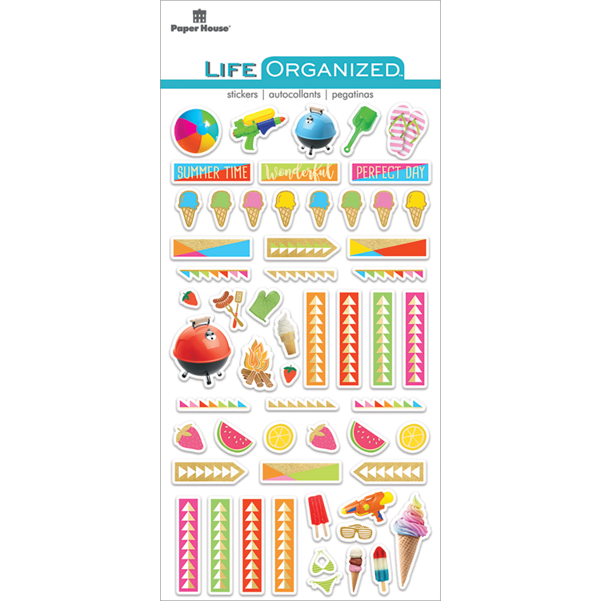 Summer Fun - Paper House Life Organized Epoxy Stickers 6.5