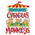"""9.25""""X12.5"""" 14 Count - Not My Monkeys Counted Cross Stitch Kit"""
