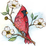 "Cardinal W/Dogwood 3""X3"" - CottageCutz Stamp & Die Set"