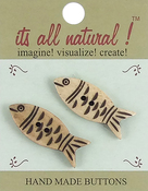 "Pair Of Fish 1-1/4"" 2/Pkg - Handmade Bone Buttons"