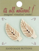 "Long Stem Leaves 1-1/2"" 2/Pkg - Handmade Bone Buttons"