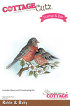 "Robin & Baby 3""X2.3"" - CottageCutz Stamp & Die Set"