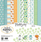 "Color Of Puppies Boy - Elizabeth Craft ModaScrap Paper Pack 12""X12"" 12/Pkg"