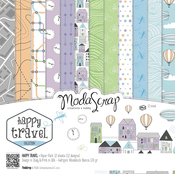 "Happy Travel - Elizabeth Craft ModaScrap Paper Pack 12""X12"" 12/Pkg"