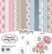"""Sweet Vintage Rose - Elizabeth Craft ModaScrap Paper Pack 12""""X12"""" 12/Pkg"""