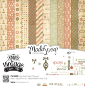 "Xmas Vintage Collection - Elizabeth Craft ModaScrap Paper Pack 12""X12"" 12/Pkg"
