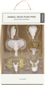 White & Gold 6/Pkg - Animal Head Push Pins