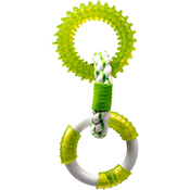 Spearmint-2 TPR Rings/1 Rope Ring - Multipet Canine Clean 3 Rings 11""