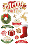 """Merry & Bright - Paper House 3D Stickers 4.5""""X7"""""""