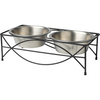 Jamaica - PetRageous Designs Double Diner - Holds 1.625qt Each PetRageous Designs Double Diner: Elevated dining set stops dogs of all ages from straining their necks and shoulders. It makes eating and drinking easier for older, arthritic dogs. This package contains one 17x8.5x5.25 inch dining set with two 6.5 cup bowls. Bowls are dishwasher safe. rust resistant and has non-skid feet Imported