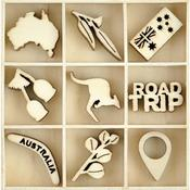 Australiana Themed Mini Wooden Flourishes 45/Pkg