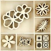 Tropics Themed Mini Wooden Flourishes 45/Pkg