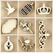 Pretty Themed Mini Wooden Flourishes 40/Pkg