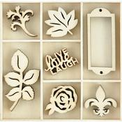 Provincial Themed Mini Wooden Flourishes 35/Pkg