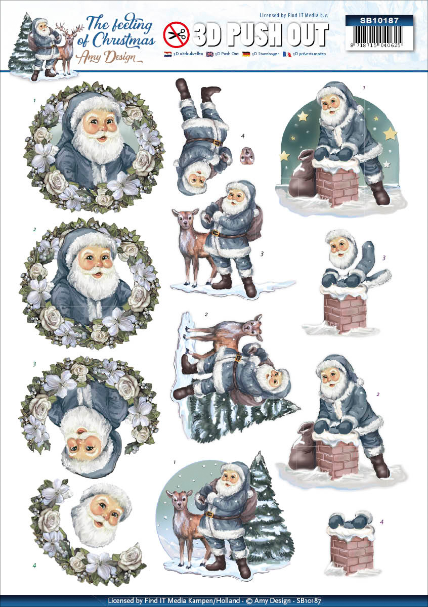 Santa Claus - Find It Amy Design The Feeling Of Christmas Punchout Sheet