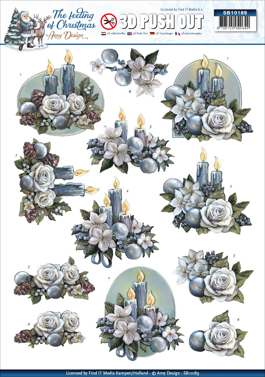 Christmas Candles - Find It Amy Design The Feeling Of Christmas Punchout Sheet