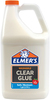 Elmer's Clear Glue Elmer's Clear School Glue is specially formulated to go on and dry clear for the perfect project every time. Great for paper, cloth, and all sorts of craft projects in school and at home. NOT for photos, bare metal, submerged or heated surfaces. Package contains 1 gal (3.78 L) of clear glue. Nontoxic. WARNING: Choking Hazard. Not suitable for children under 3 years. Conforms to ASTM D4236. Imported.
