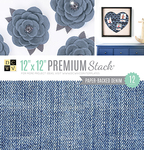 "Paper Backed Denim Fabric - DCWV Single-Sided Specialty Stack 12""X12"" 12/Pkg"