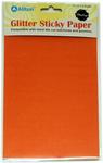 "Orange - Ultra Fine Glitter Sticky Paper 6""X9"" 5/Pkg"