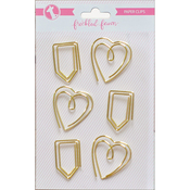 Gold Heart & Tab - Freckled Fawn Decorative Metal Paper Clips 6/Pkg