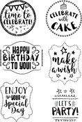 Birthday Sentiments - Elizabeth Crafts Clear Stamps