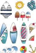 Sun & Surf - Elizabeth Crafts Clear Stamps