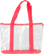 """Red - All-Purpose Clear Tote Bag 19""""X14""""X6"""""""