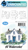 """Cottages - Art Impressions Watercolor Cling Rubber Stamps 4""""X7"""""""