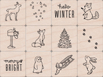 Wintertime Animals - Hero Arts Mounted Stamps Mini Tub