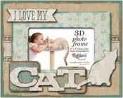 """I Love My Cat - Highland Woodcrafters 6""""x4"""" Wooden 3D Photo Frame"""