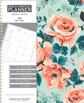Mint Floral With Gold Foil Spiral Planner - American Crafts